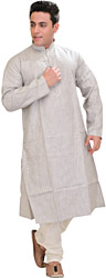 Wind-Chime Kurta Pajama with Thread-Embroidery on Neck
