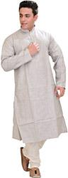 Wind-Chime Kurta Pajama with Thread-Embroidery on Neck