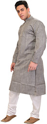 Frost-Gray Kurta Pajama with Stripes and Thread-Embroidery on Neck