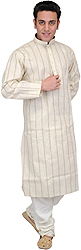 Antique-White Kurta Pajama with Stripes and Embroidery on Neck