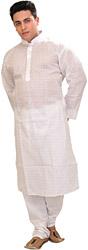 Bright-White Casual Kurta Pajama with Checks Woven in Self