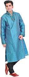 Pagoda-Blue Wedding Kurta Pajama with Hand-Embroidered Beads on Neck