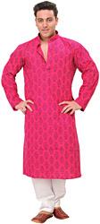 Kurta Pajama Set with Floral Block-Print