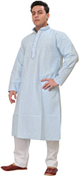 Plain Khadi Kurta Pajama with Embroidery on Neck