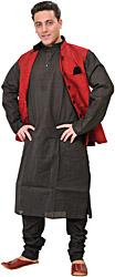 Three Piece Wedding Kurta Pajama Set with Poly-Velvet Jacket