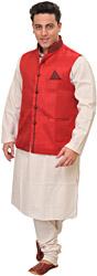 Three Piece White Kurta Pajama Set with Poly-Jute Waistcoat