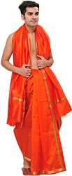 Dhoti and Angavastram Set with Woven Temple Border