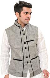 Frost-Gray Waistcoat with Velvet Lapel