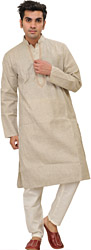 Kurta Pajama with Woven Stripes and Embroiderey on Neck