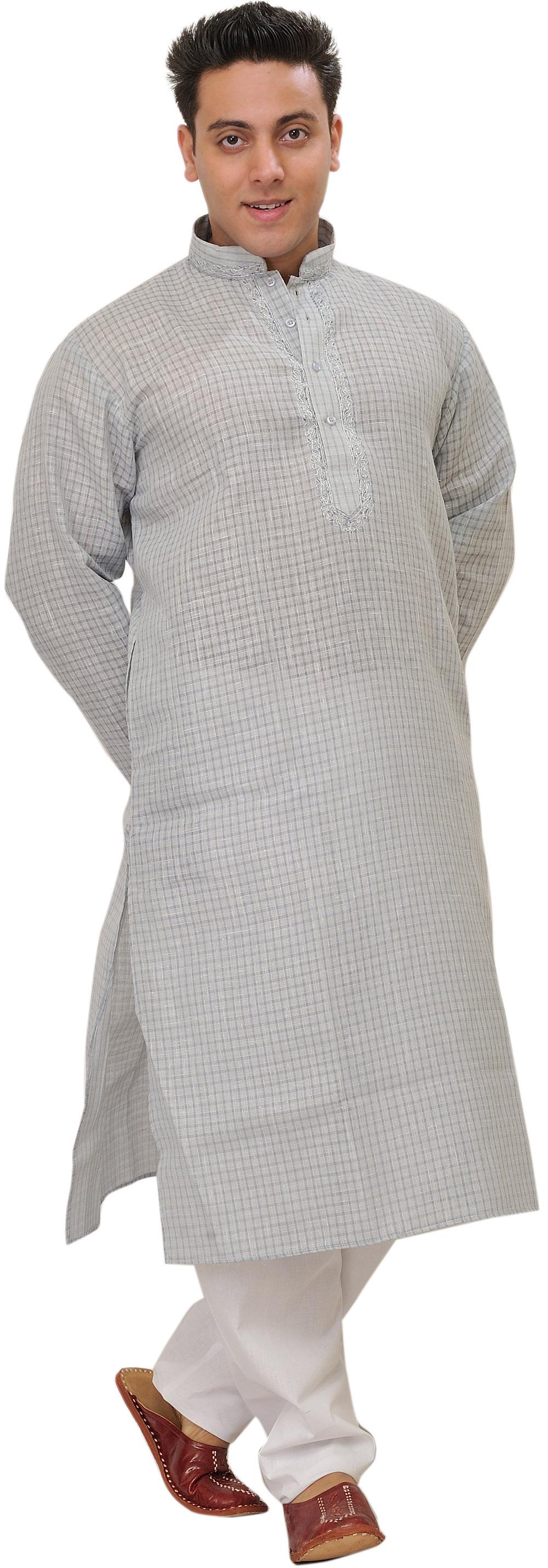 Kurta Pajama With Woven Checks And Embroidery On Neck