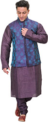 Wineberry-Purple Three Piece Kurta Pajama Set with Brocaded Waistcoat