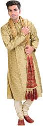 Three-Piece Slate-Green Wedding Kurta Pajama Set with Embroidered Beads on Neck