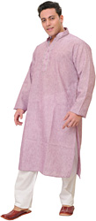 Plain Khadi Kurta Pajama with Thread Embroidery on Neck