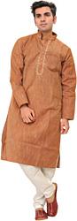Sunburn Kurta Pajama with Embroidery on Neck and Woven Stripes