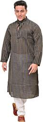 Kurta Pajama with Wide Woven Stripes