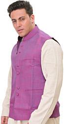 Meadow-Mauve Plain Pure Linen Modi Jacket