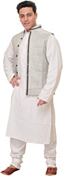Frost-Gray Three Piece Kurta Pajama Set with Waistcoat