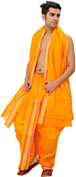 Bright-Marigold Ready to Wear Dhoti and Angavastram Set with Woven  Border