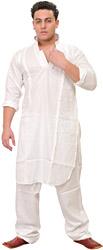 Plain Kurta Pajama with Thread Embroidery on Lapel