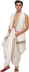 White  Ready to Wear Dhoti and Angavastram Set with Stripesd Border