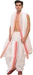 White Ready to Wear Dhoti and Angavastram Set with Woven Border