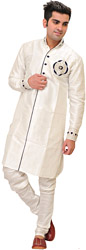 White Designer Kurta Pajama Set with Faux Pearl Embroidery on Neck and Cuff