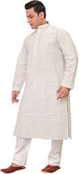 White Kurta Pajama with Checks