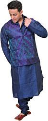 Estate-Blue Three Piece Kurta Pajama Set with Waistcoat