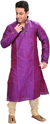 Bright-Violet Kurta Pajama Set with Self-Weave and Beaded Neck