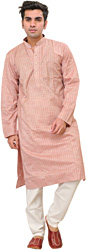 Misty-Rose Kurta Pajama Set with Woven Stripes and Embroidery on Neck