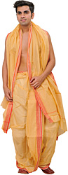 Caramel-Cream Ready to Wear Dhoti and Angavastram Set with Woven Border