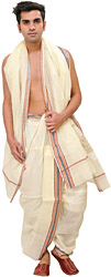 Papyrus-White Ready to Wear Dhoti and Angavastram Set with Woven Border