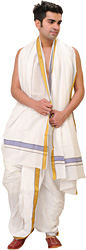 Bright-White Ready to Wear Dhoti and Angavastram Set with Zari-Weave on Border