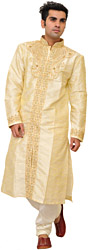 Transparent-Yellow Wedding Kurta Pajama Set with Self-Weave and Hand-Embroidered Beads