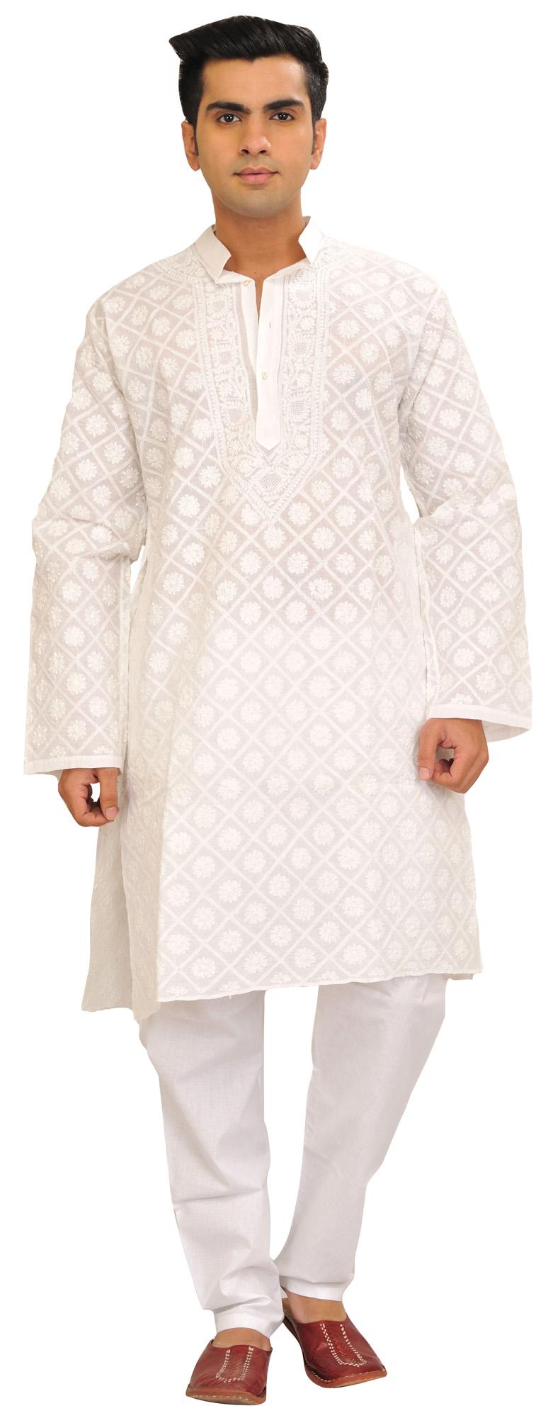 BrightWhite Kurta Pajama Set With Chikan HandEmbroidery