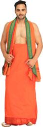 Marine-Green Dhoti and Angavastram Set with Woven Shiva Linga and Nandi on Border