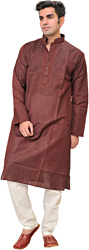 Cordovan-Red Striped Kurta Pajama Set with Embroiderey on Neck