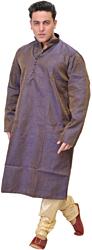 Orient-Blue and Cream Kurta Pajama Set with Jacquard Weave