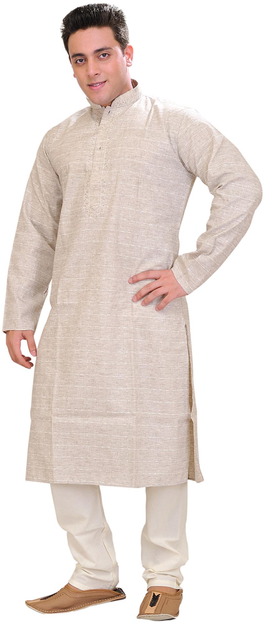 Moonbeam Khadi Kurta Pajama Set With Thread Weave And