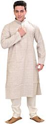 Moonbeam Khadi Kurta Pajama Set with Thread Weave and Embroidery on Neck