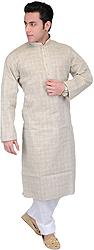 Whitecap-Gray Casual Kurta Pajama Set with Woven Checks and Embroidery on Neck
