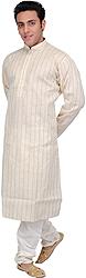 Antique-White Kurta Pajama Set with Woven Stripes and Embroidered Neck
