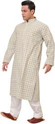 Cloud-Cream Casual Kurta Pajama Set with Woven Checks and Front Pocket