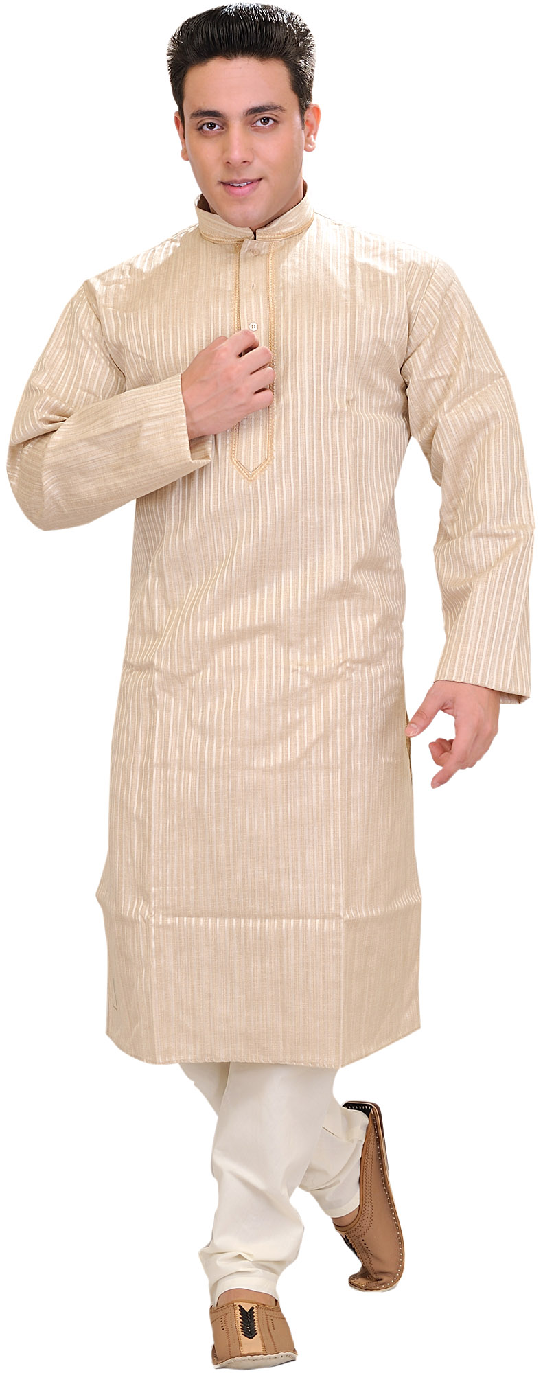 Sandshell Casual Kurta Pajama Set With Woven Stripes And