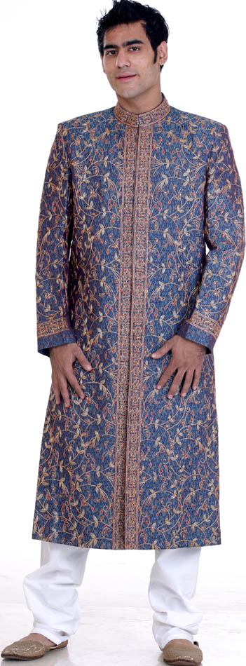 Wedding Sherwani with AllOver MultiColor Embroidery