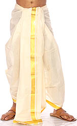 White Kasavu Dhoti from Kerala with Wide Golden Woven Border