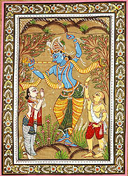 Krishna Lifting the Mountain Govardhana with Shridama and Madhumangal