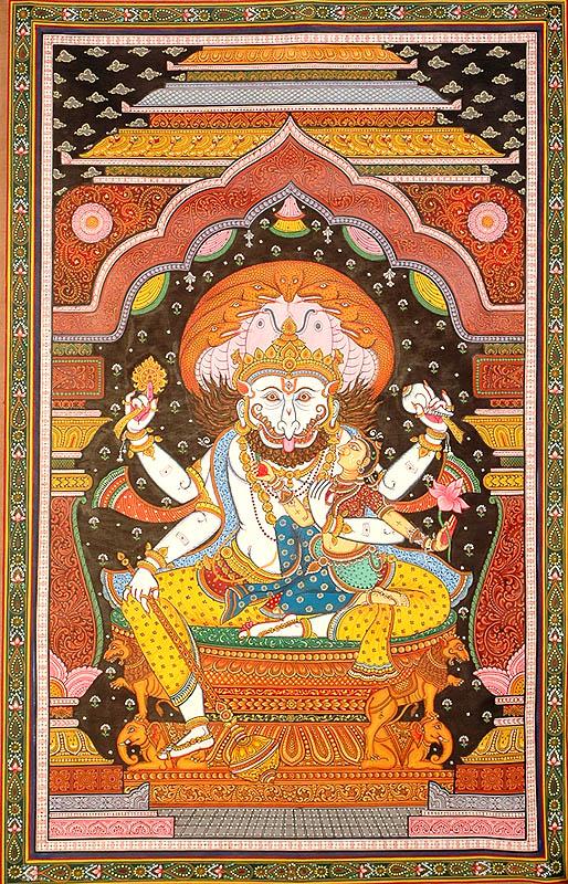 Narasimha with Goddess Lakshmi - A Saumya Image