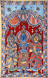 Lord Krishna with Rukmini and Satyabhama