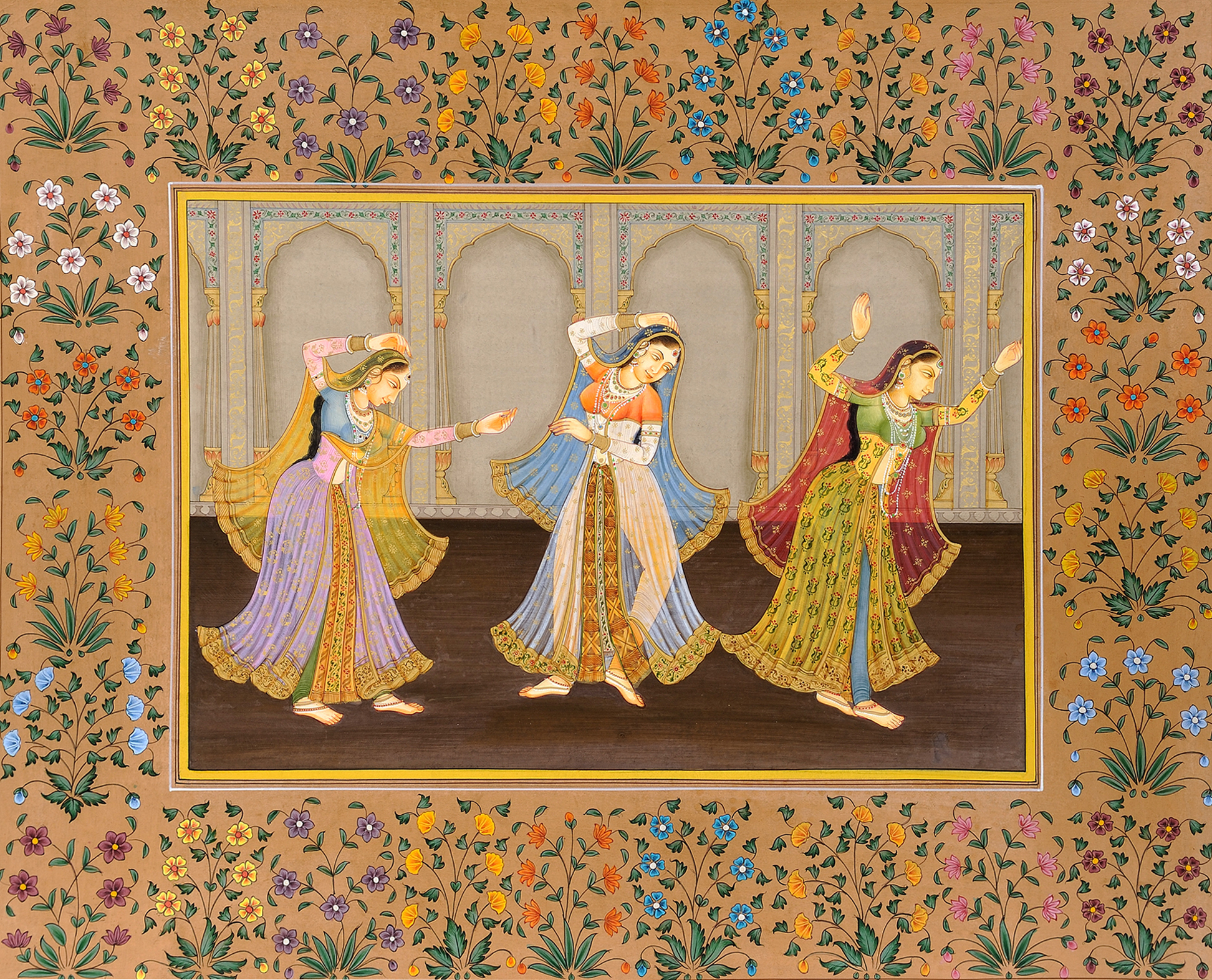 Miniature Painting Wallpaper Ladies Engaged in Dance